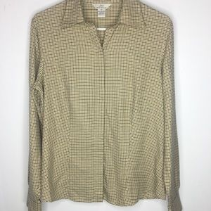 Brooks Brothers Small Plaid Button Up Blouse Sz 12
